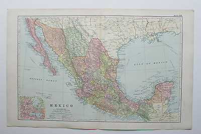 1898 MEXICO LOWER CALIFORNIA ETC. Antique Map Bacon