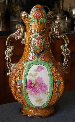 Gorgeous Monumental Two Handled Antique Roses Motif Majolica Urn
