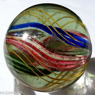 """1-9/16"""" Rare Double Ribbon Core Marble - Nm - Germany 1880 Xlnt Pontil Hand Made"""