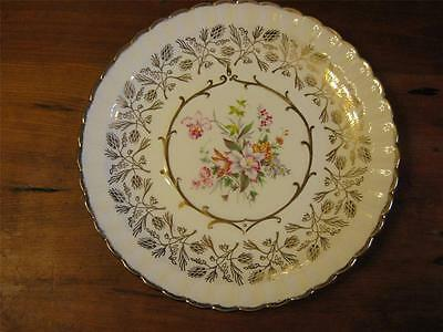 VTG SHABBY~CHIC WOOD & SON ENGLAND GREAT GOLD WORK WONDERFUL FLORAL DESIGN PLATE