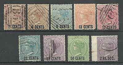 Mauritius Sg83-91 The 1878 Overprint Set Of 9 Used (2 Are Mint) Cat £267