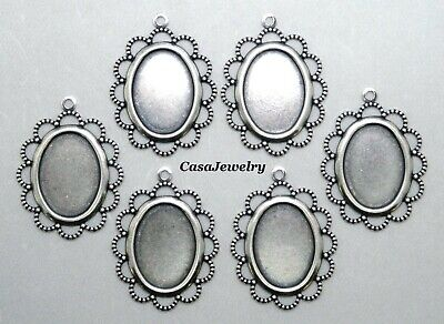 #3052 ANTIQUED SS/P FLAT LACY BORDERED 18x13 BEZEL W/TOP HANG RING - 6 Pc Lot
