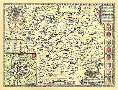 Leicestershire Leicester  ALL HAND COLOURED Replica John Speed c.1610 Old Map