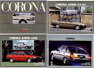 Four 1985-86 TOYOTA CORONA New Zealand Brochures 2 x 16 Page and 2 Sheets