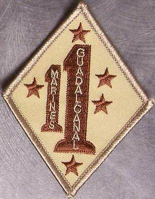 Embroidered Military Patch USMC 1st Marine 1st Division Guadalcanal NEW desert