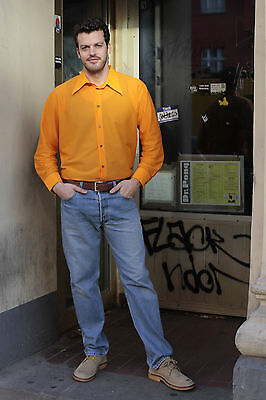Wirkoli Herren Hemd shirt orange 70er True VINTAGE 70´s men lang long bunt