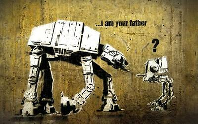 BANKSY STAR WARS - father- QUALITY CANVAS ART PRINT- Poster 12x8""