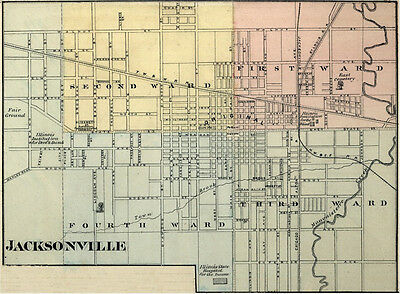 Jacksonville Illinois Morgan Co IL 1876  Map Genealogy