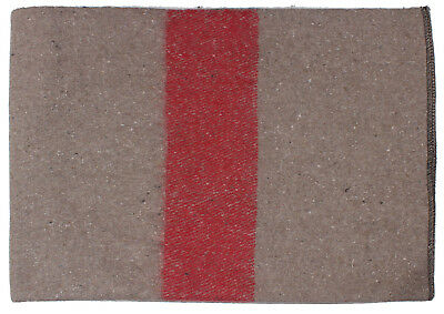 """wool blanket swiss army style 62"""" x 80"""" tan with red stripe rothco 10238"""