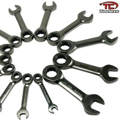 13pc Duo Metric Stubby Ratchet Wrench Set SAE & Metric Automotive Hand Tools