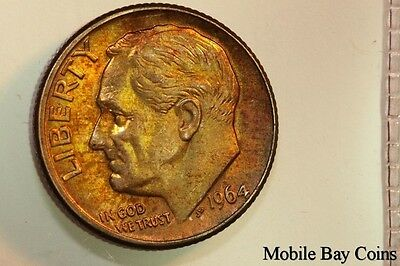 Sweet Album Toned 1964-D Roosevelt Silver Coinage Dime - Mint State (RDX377)
