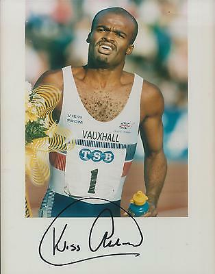 Kriss Akabusi Autograph 10x8 Signed Photo AFTAL COA British Athlete Genuine