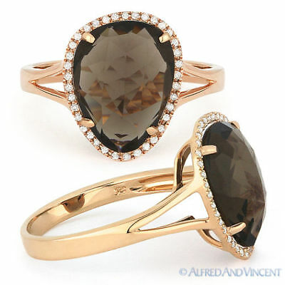 4.02ct Checkerboard Smoky Topaz Round Diamond Halo Right-Hand Ring 14k Rose Gold