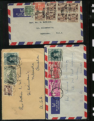Burma   3 airmail  covers  to  US           WPX1112