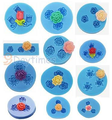 Mini Rose Flower 3 Cavities Silicone Mold For Polymer Clay Crafts Resin Jewelry