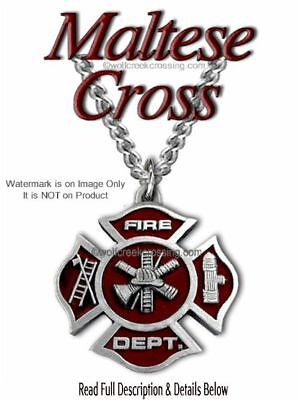 Fire Fighter Necklace - Fireman Maltese Cross Firefighter Rescue Free Ship C20*