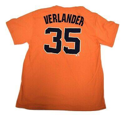Mens Majestic MLB Detroit Tigers Justin Verlander Name & Number Shirt NWT L
