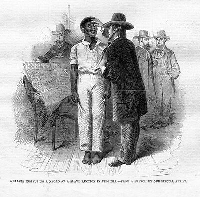 Slave Auction Dealers Inspecting A Negro At A Slave Auction In Richmond Virginia