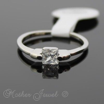 Square April Birthstone Friendship Solitiare Silver Sp Ladies Girls Dress Ring