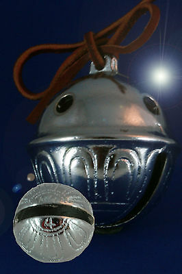 Polar Bear Express Reindeer Sleigh Bell #4 CHROME with Red Reindeer Leather tie