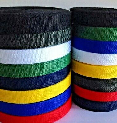 25mm Coloured Webbing Tape Strapping 10m 20m 50m and 100 Meter lengths
