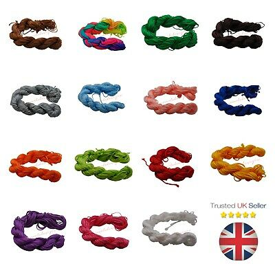 12.5 Metre's Nylon Braided Braiding Cord Thread 2mm Kumihimo Macrame PICK COLOUR