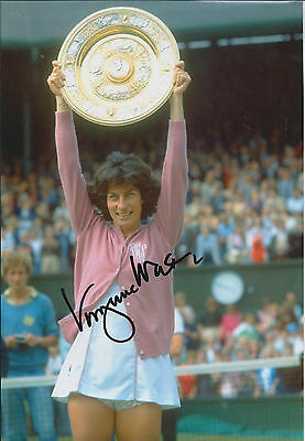 Virginia WADE Signed 10x8 Autograph Photo AFTAL COA British Tennis Legend