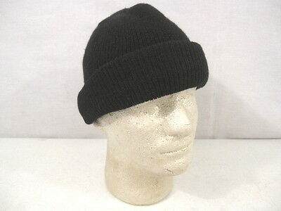 US Army Cold Weather 100% Wool Knit Black Watch Cap - Med/Lg