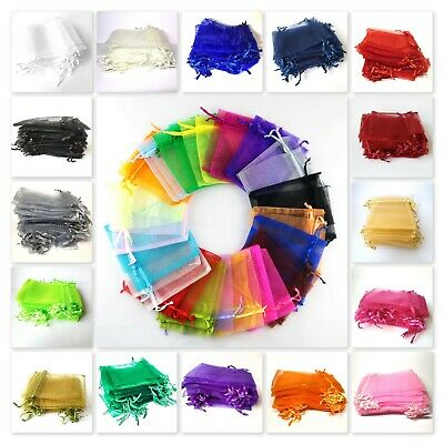 10, 50 or 100 Organza Bags / Jewellery Pouches - 7x9cm Various Colours UK