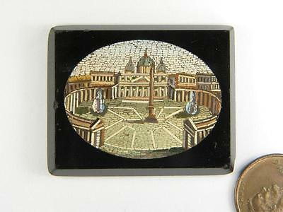 QUALITY ANTIQUE MICROMOSAIC PANEL St. PETER'S SQUARE ROME c1870