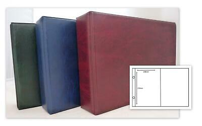Glen Postcard Card 2 Ring Album 30 x 2 Pocket Pages In Green Red Or Blue