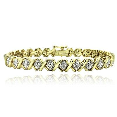 1 Ct TDW Diamond Gold Plated X Tennis Bracelet