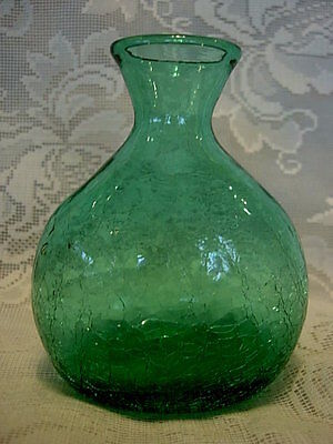 Collectible Teal/Green Hand Blown Crackle Art Glass Vase - Rough Pontil