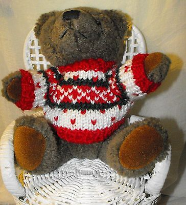 "2000 Hugfun 8"" Jointed Chocolate Teddy Bear Stuffed Plush in Knit Winter Sweater"