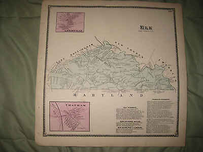 Antique 1873 Elk Township Chatham Chester County Pennsylvania Handcolored Map Nr