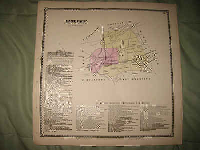 Antique 1873 East Caln Township Downingtown Chester County Pennsylvania Map Nr