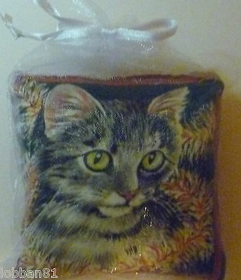 Christma Cat Pin Cushion Cotton & Red Velvet reverse in organza bag Last One New