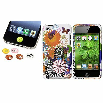 Colorful Flower Case+Home Button Sticker Accessory for iPod Touch 4th Gen 4 4G