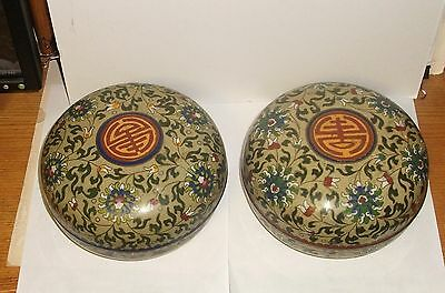 Rare Pair Of Large Old 19Th C.chinese Bronze Cloisonne Enamel Bowl Jar Boxes