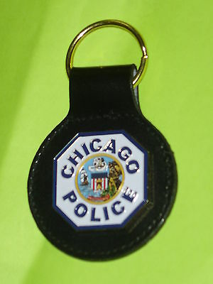 Chicago Police Officer Patch Key Chain w/ Leather Strap