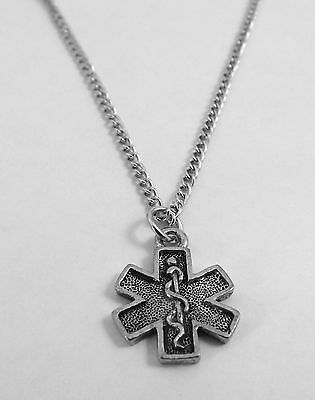 Pewter EMT Cross Pendant on a Silver Plated Link Chain Necklace -5540