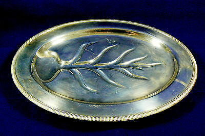W.M. Rogers Silver Plated Serving Tray Oval Platter Family Live tree Harvest
