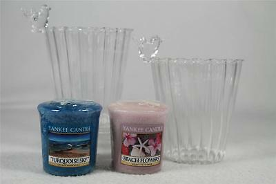 Yankee Candle 'Clear Votive Holder' Set of 2 Holders W/Candles #1266009 NEW!