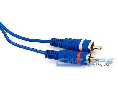 ABSOLUTE 3 Ft 2 Ch Blue Twisted Car Amp Gold RCA Jack Cable Interconnect