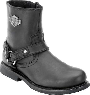 Harley-Davidson Scout Black 7-Inch Leather Boots, Side Entry Inside Zip. D95262