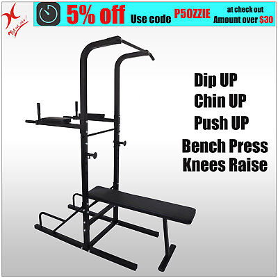 Chin Up Station Power Tower - Dip - Pull Up -Vkr Knee Raise - Weight Bench Press