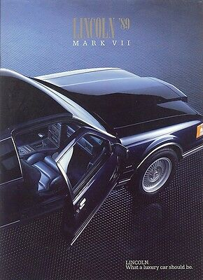 1989 Lincoln Mark VII Bill Blass LSC Deluxe Sales Brochure w/Paint Chips - Mint!