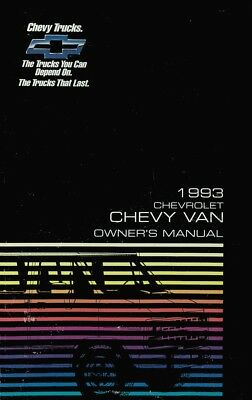1993 Chevrolet G Van Owners Manual User Guide Reference Operator Book Fuses