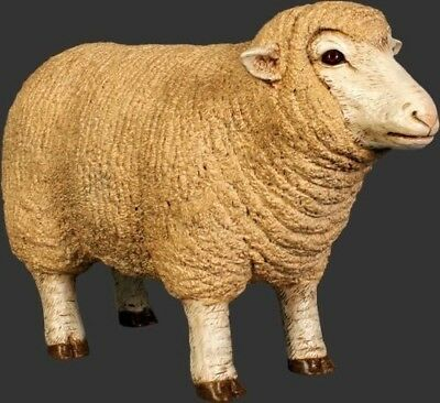 Lamb Statue Merino Ewe Lamb Head Up Sheep Small Farm Display Prop