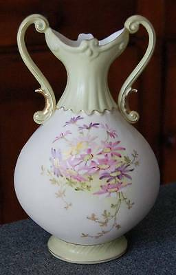 Lovely Antique Austrian Two Handled Urn Light Green Trim & Hand Painted Florals